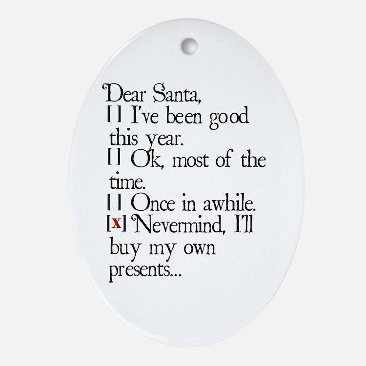 Dear Santa Ornament (Oval)