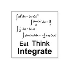 "Eat. Think. Integrate. Square Sticker 3"" x 3"""