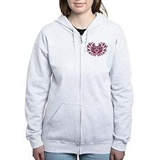 Breast Cancer Heart Wings Zip Hoodie