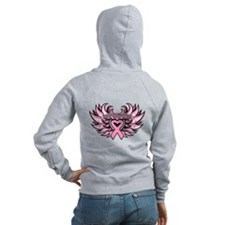 Breast Cancer Heart Wings Zip Hoody