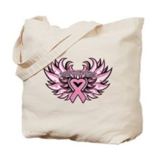Breast Cancer Heart Wings Tote Bag