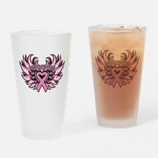 Breast Cancer Heart Wings Drinking Glass