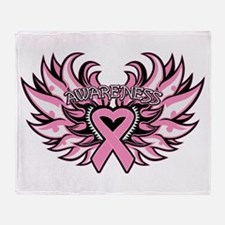 Breast Cancer Heart Wings Throw Blanket