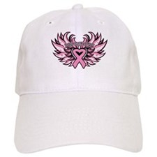 Breast Cancer Heart Wings Cap