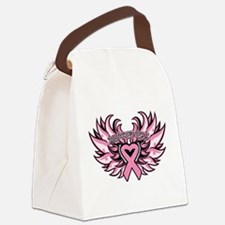Breast Cancer Heart Wings Canvas Lunch Bag