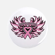 "Breast Cancer Heart Wings 3.5"" Button"