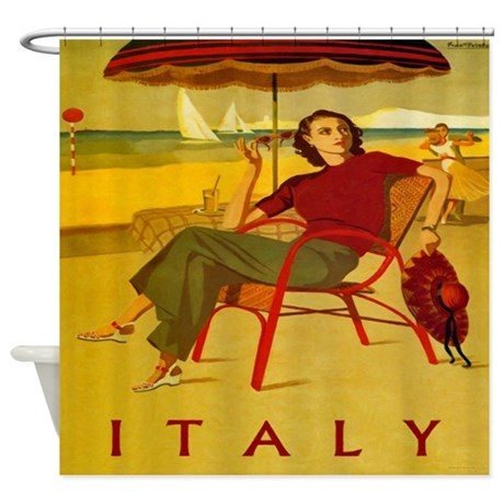 vintage italy beach poster shower curtain