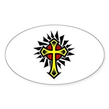 Yellow Tribal Cross Oval Decal