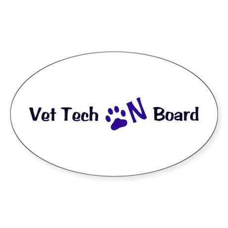 Vet Tech On Board 33 Sticker (Oval)