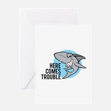 Shark- Here comes trouble Greeting Card