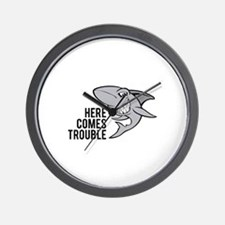Shark- Here comes trouble Wall Clock