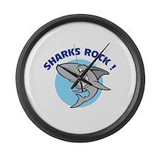 Sharks rock! Large Wall Clock