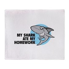 My shark ate my homework Throw Blanket