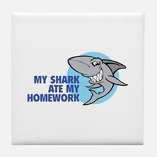 My shark ate my homework Tile Coaster