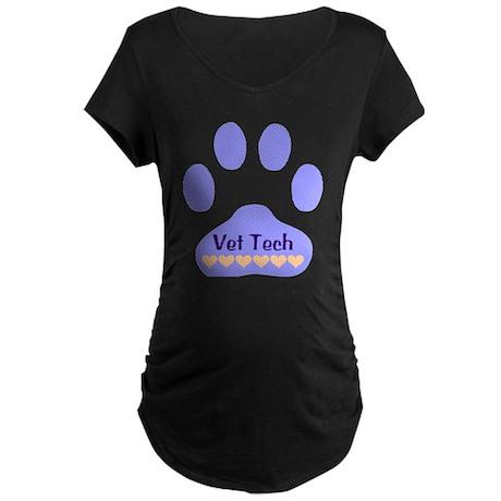 Vet Tech Paw 22 Maternity Dark T-Shirt
