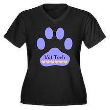 Vet Tech Paw 22 Women's Plus Size V-Neck Dark T-Sh