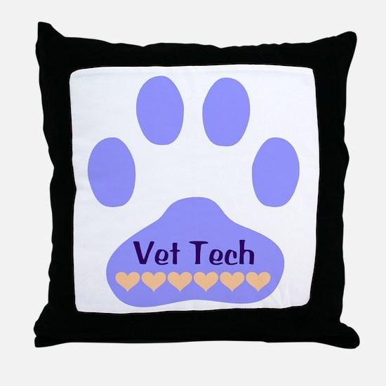 Vet Tech Paw 22 Throw Pillow