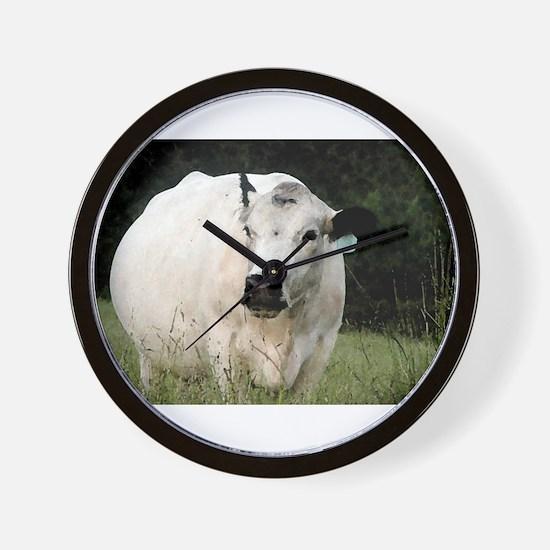 British White Cow - Color #2 Wall Clock