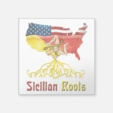 "American Sicilian Roots Square Sticker 3"" x 3"