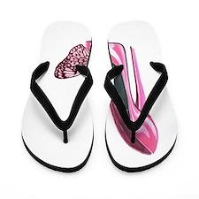Pink Stiletto Shoe and Butterfly Art Flip Flops