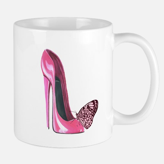 Pink Stiletto Shoe and Butterfly Art Mug
