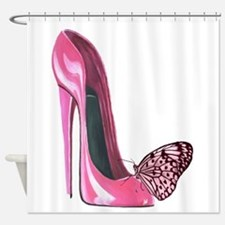 Pink Stiletto Shoe and Butterfly Art Shower Curtai