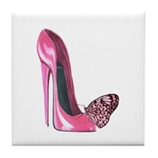 Pink Stiletto Shoe and Butterfly Art Tile Coaster