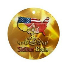 Sicilian American Roots Christmas Ornament (Round)