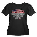 America the Free Women's Plus Size Scoop Neck Dark