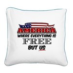 America the Free Square Canvas Pillow