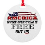 America the Free Round Ornament