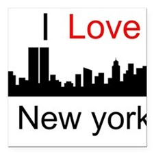 "I love NY Square Car Magnet 3"" x 3"""