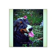 "Berner Amid Flowers Square Sticker 3"" x 3"""