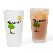 Custom Name Tree Sun Drinking Glass