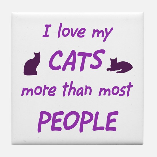 I Love My Cats Tile Coaster