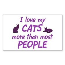 I Love My Cats Rectangle Decal