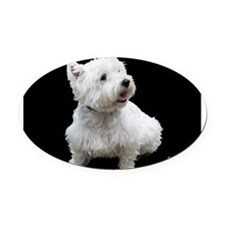 mewestie11.5x9print.png Oval Car Magnet