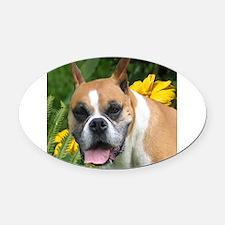 Boxer Portrait Oval Car Magnet