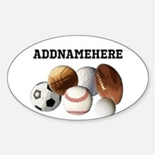 Sports Balls, Custom Name Sticker (Oval)