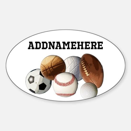 Sports Balls, Custom Name Sticker (Oval)