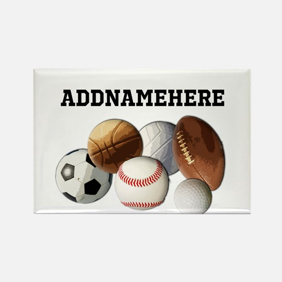 Sports Balls, Custom Name Rectangle Magnet
