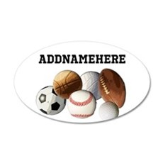 Sports Balls, Custom Name 20x12 Oval Wall Decal