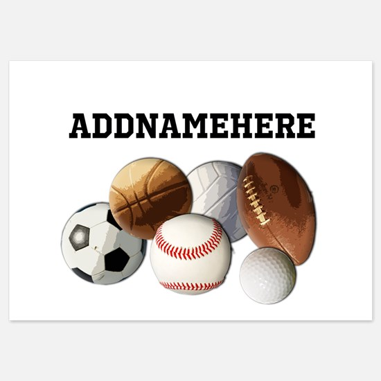 Sports Balls, Custom Name 5x7 Flat Cards