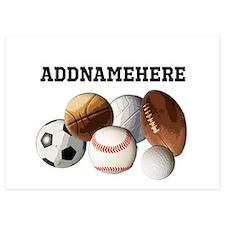 Sports Balls, Custom Name Invitations