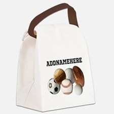 Sports Balls, Custom Name Canvas Lunch Bag