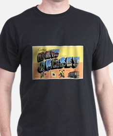 New Jersey Greetings (Front) Black T-Shirt