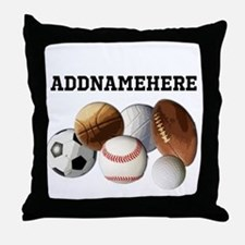 Sports Balls, Custom Name Throw Pillow