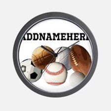 Sports Balls, Custom Name Wall Clock