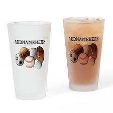 Sports Balls, Custom Name Drinking Glass