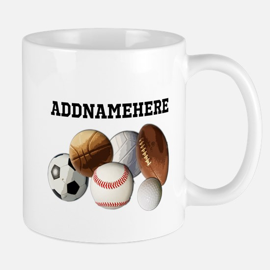 Sports Balls, Custom Name Mug